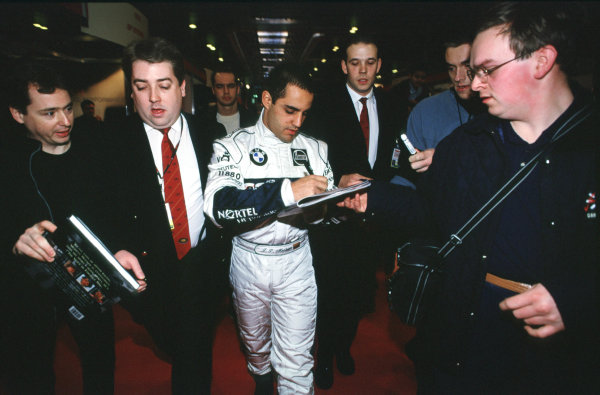 2001 Autosport International Show. NEC, Birmingham, England. 11th - 14th January 2001. Juan Pablo Montoya World Copyright - Dixon / LAT Photographic ref: 01show05
