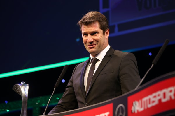 2016 Autosport Awards.  Grosvenor House Hotel, Park Lane, London. Sunday 4 December 2016.  Volkswagen WRC technical chief Francois Demaison receives the Rally Car of the Year award for the VW Polo. World Copyright: Jed Leicester/LAT Images. ref: Digital Image JL1_9341