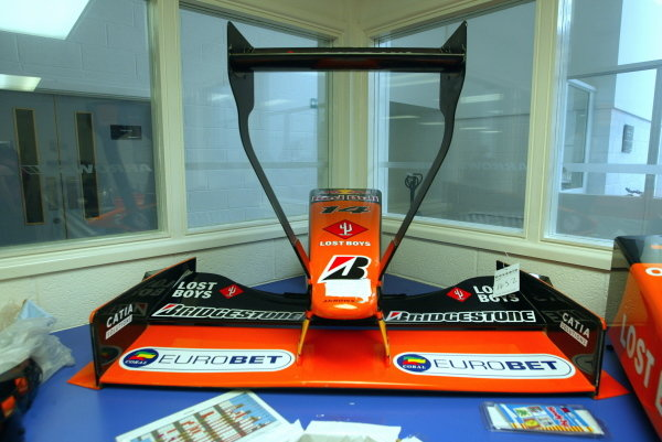 The rare wing design as used in the Monaco GP 2001. The recievers hold an auction to sell any remaning Arrows F1 artefacts from the bankrupt team. TWR Arrows F1 Auction Preview 17 June 2003, TWR Arrows Facility, Leafield, England. DIGITAL IMAGE