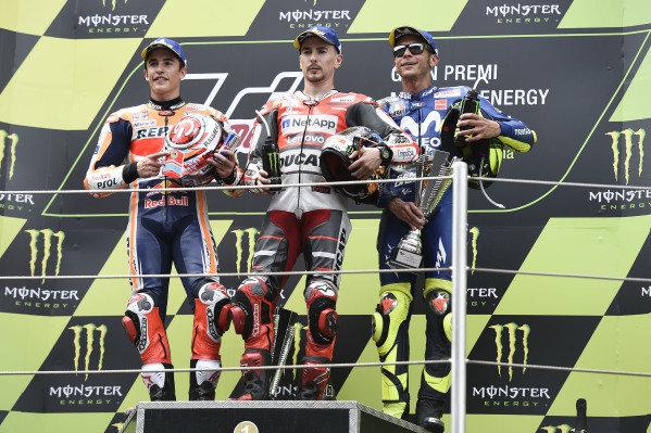Podium: Marc Marquez, Repsol Honda Team, Jorge Lorenzo, Ducati Team, Valentino Rossi, Yamaha Factory Racing.