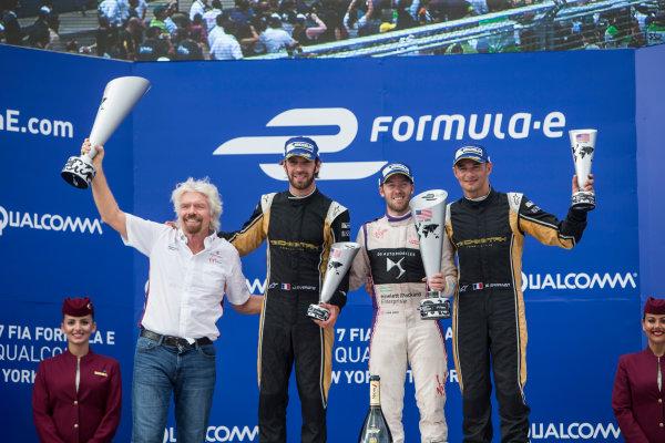 2016/2017 FIA Formula E Championship. Round 9 - New York City ePrix, Brooklyn, New York, USA. Saturday 15 July 2017. Sr Richard Branson, Sam Bird (GBR), DS Virgin Racing, Spark-Citroen, Virgin DSV-02, Jean-Eric Vergne (FRA), Techeetah, Spark-Renault, Renault Z.E 16, and Stephane Sarrazin (FRA), Techeetah, Spark-Renault, Renault Z.E 16, celebrate on the podium. Photo: Andrew Ferraro/LAT/Formula E ref: Digital Image _FER8687