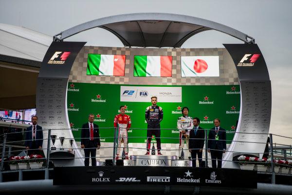 2017 FIA Formula 2 Round 9. Autodromo Nazionale di Monza, Monza, Italy. Saturday 2 September 2017. Antonio Fuoco (ITA, PREMA Racing), Luca Ghiotto (ITA, RUSSIAN TIME), Nobuharu Matsushita (JPN, ART Grand Prix).  Photo: Zak Mauger/FIA Formula 2. ref: Digital Image _56I8420