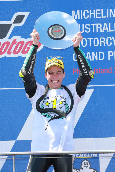 2017 Moto3 Championship - Round 16 Phillip Island, Australia. Sunday 22 October 2017 Podium: race winner Joan Mir, Leopard Racing World Copyright: Gold and Goose / LAT Images ref: Digital Image 24362