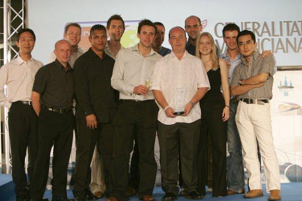 2007 GP2 Series. Round 11.GP2 Series Prize Giving Ceremony.Valencia, Spain. 30th September.The Bridgestone team celebrate their award, Best Team Spirit. World Copyright: Drew Gibson/GP2 Series Media Service.ref: Digital Image _F6E3223