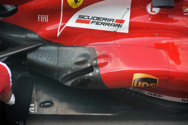 Ferrari F138 rear floor and exhaust outlet detail.Formula One Young Drivers Test, Silverstone, England, Day Two, Thursday 18 July 2013.