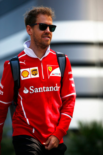 Sochi Autodrom, Sochi, Russia. Friday 28 April 2017. Sebastian Vettel, Ferrari.  World Copyright: Andy Hone/LAT Images ref: Digital Image _ONZ8971