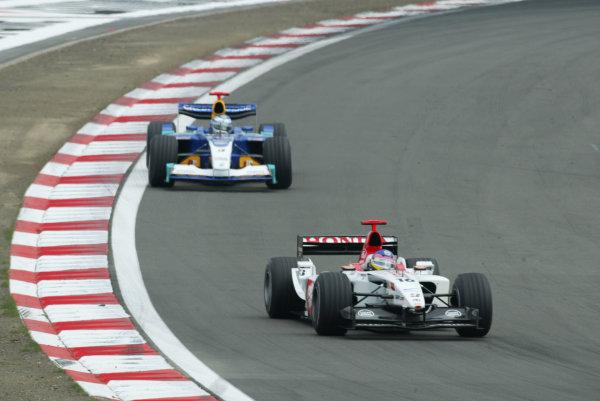 2003 European Grand Prix - Sunday RaceNurburgring, Germany.29th June 2003.Jacques Villeneuve, BAR Honda 005, action.World Copyright LAT Photographic.Digital Image Only.