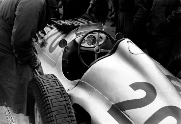 Nurburgring, Germany. 25th July 1937.Christian Kautz, Mercedes-Benz W125, 6th position, in the pits, portrait. World Copyright: Robert Fellowes/LAT PhotographicRef: RF37_GER