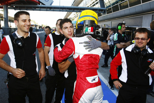 Esteban Gutierrez (MEX) ART Grand Prix celebrates after taking pole position, which gave him two points that secured him the inaugural GP3 title. GP3 Series, Rd 8, Qualifying, Monza, Italy, Saturday 11 September 2010.