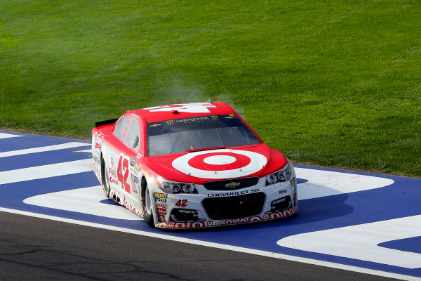 2017 Monster Energy NASCAR Cup Series Auto Club 400 Auto Club Speedway, Fontana, CA USA Sunday 26 March 2017 Kyle Larson celebrates his win  World Copyright: Russell LaBounty/LAT Images ref: Digital Image 17FON1rl_5782