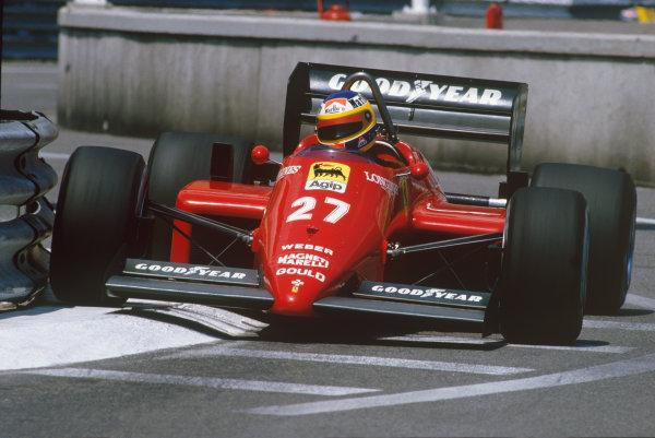 Monte Carlo, Monaco. 15 - 19 May 1985.Michele Alboreto (Ferrari 156/85), 2nd position, action. World Copyright: LAT Photographic.Ref:  85MON52.