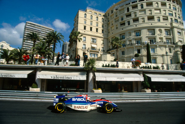 Monte Carlo, Monaco. 20th - 23rd May 1993.Rubens Barrichello (Jordan 931-Hart), 9th position, action. World Copyright: LAT Photographic.Ref:  Colour Transparency.