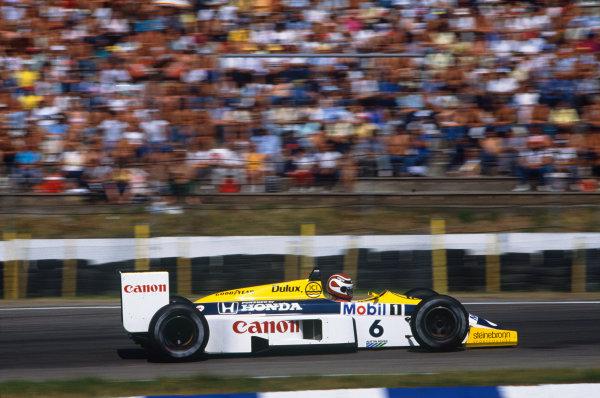 Hockenheim, Germany. 25-27 July 1986. Nelson Piquet (Williams FW11 Honda) 1st position. Action. Ref: 86 GER 32. World Copyright - LAT Photographic
