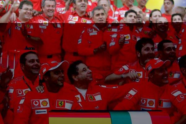 2006 Brazilian Grand Prix - Sunday Race Interlagos, Sao Paulo, Brazil. 19th - 22nd October 2006. The Ferrari team say goodbye and thank you to Michael Schumacher after the 7 times World Champion retires, portrait. World Copyright: Lorenzo Bellanca/LAT Photographic ref: Digital Image MU4Z4407