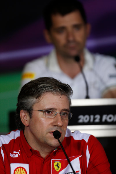 Yas Marina Circuit, Abu Dhabi, United Arab Emirates Friday 2nd November 2012. Pat Fry, Director of Chassis, Scuderia Ferrari, in the Press Conference.  World Copyright:Charles Coates/  ref: Digital Image _N7T1434