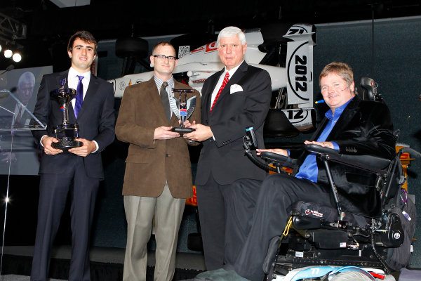 6 December, 2012, Indianapolis, Indiana USA Indy Lights champion Tristin Vautier and his chief mechanic Jason Robb (with Chief Mechanic of the year award) with Al Speyer and Sam Schmidt.(c)2012, Russell LaBounty LAT Photo USA .
