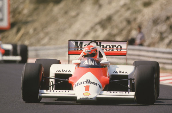 Spa-Francorchamps, Belgium.2 June 1985.Niki Lauda (McLaren MP4/2B TAG Porsche). The race was cancelled after practice when the newly-laid track broke up.World Copyright - LAT Photographic