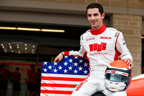 Circuit of the Americas, Austin, Texas, United States of America.  Thursday 22 October 2015. Alexander Rossi, Manor F1, gets presented to the media as the first American F1 driver to race on home soil since 2007. World Copyright: Alastair Staley/LAT Photographic ref: Digital Image _N7T5078