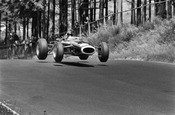 1966 German Grand Prix. Nurburgring, Germany. 7 August 1966. Jackie Stewart (BRM P261), 5th position, action.  World Copyright: LAT Photographic.  Ref:  530_21A.