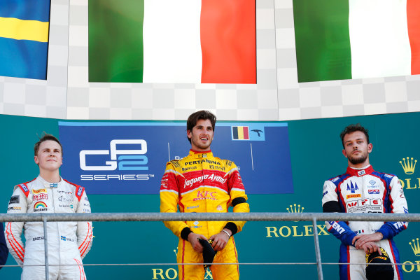 Antonio Giovinazzi (ITA, PREMA Racing) Gustav Malja (SWE, Rapax) and Luca Ghiotto (ITA, Trident) on the podium  2016 GP2 Series Round 6 Spa-Francorchamps, Spa, Belgium Sunday 28 August 2016  Photo: /GP2 Series Media Service ref: Digital Image _SBB6175