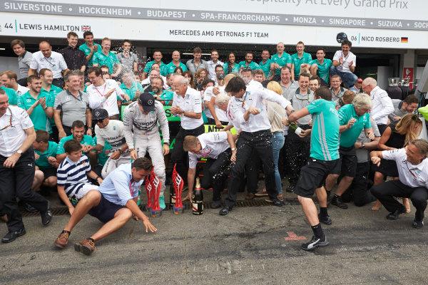 Hockenheimring, Hockenheim, Germany. Sunday 20 July 2014. Nico Rosberg, Mercedes AMG, 1st Position, and the Mercedes team celebrate victory.  World Copyright: Steve Etherington/LAT Photographic. ref: Digital Image SNE27091