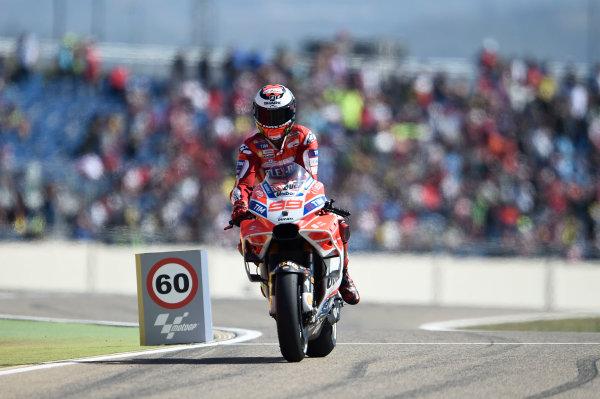 2017 MotoGP Championship - Round 14 Aragon, Spain. Saturday 23 September 2017 Jorge Lorenzo, Ducati Team World Copyright: Gold and Goose / LAT Images ref: Digital Image 13716