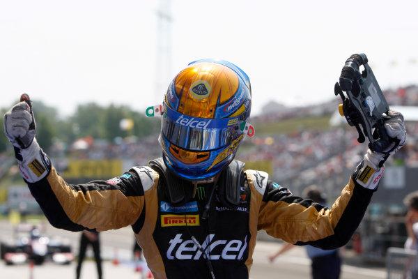 Hungaroring, Budapest, Hungary. 29th July 2012.Sunday Race.Esteban Gutierrez (MEX, Lotus GP) celebrates his victory. World Copyright: Alastair Staley/GP2 Media Serviceref: Digital Image _O9T4886.jpg