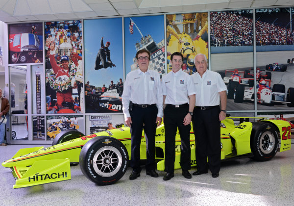 22 March,  2016, Indianapolis, Indiana USA Penske Indy 500 Sponsor Press Conference (left to right) John Menard, Roger Penske and Simon Pagenaud ©2016 Walt Kuhn LAT Photo USA