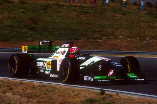Estoril, Portugal.22-24 September 1995.Pedro Lamy (Minardi M195 Ford). He exited the race with a gearbox hydraulics problem.Ref-95 POR 14.World Copyright - LAT Photographic