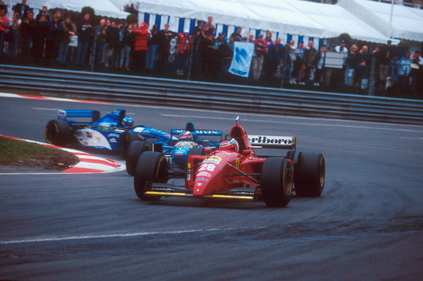 Spa-Francorchamps, Belgium.25-27 August 1995.Gerhard Berger (Ferrari 412T2) at La Source, followed by Michael Schumacher (Benetton B195 Renault) and Giovanni Lavaggi (Pacific PR02 Ford)Ref-95 BEL 21.World Copyright - LAT Photographic