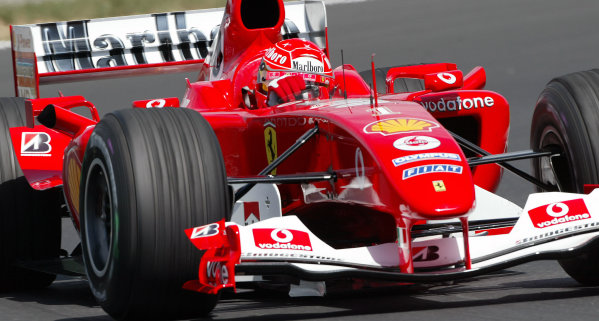 2004 Hungarian Grand Prix - Friday Practice,2004 Hungarian Grand Prix Budapest, Hungary. 13th August 2004 Michael Schumacher, Ferrari F2004. Action. World Copyright: Steve Etherington/LAT Photographic ref: Digital Image Only