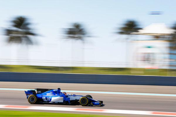 Yas Marina Circuit, Abu Dhabi, United Arab Emirates. Wednesday 29 November 2017. Charles Leclerc, Sauber C36 Ferrari. World Copyright: Joe Portlock/LAT Images  ref: Digital Image _R3I5055