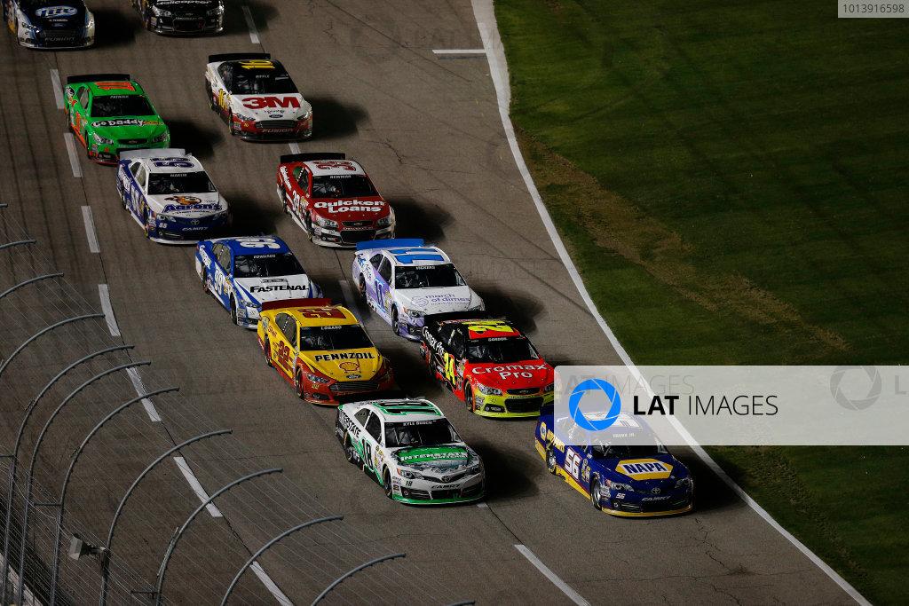 11-13 April, 2013, Fort Worth, Texas, USA Martin Truex Jr. and Kyle Busch lead a restart © 2013, Michael L. Levitt LAT Photo USA.