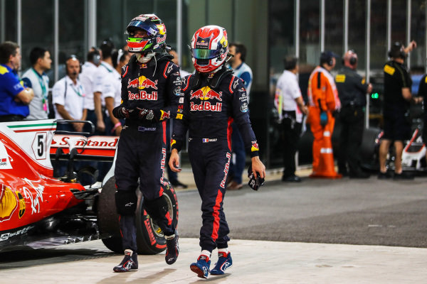 Brendon Hartley (NZL) Scuderia Toro Rosso and Pierre Gasly (FRA) Scuderia Toro Rosso in parc ferme at Formula One World Championship, Rd20, Abu Dhabi Grand Prix, Race, Yas Marina Circuit, Abu Dhabi, UAE, Sunday 26 November 2017.