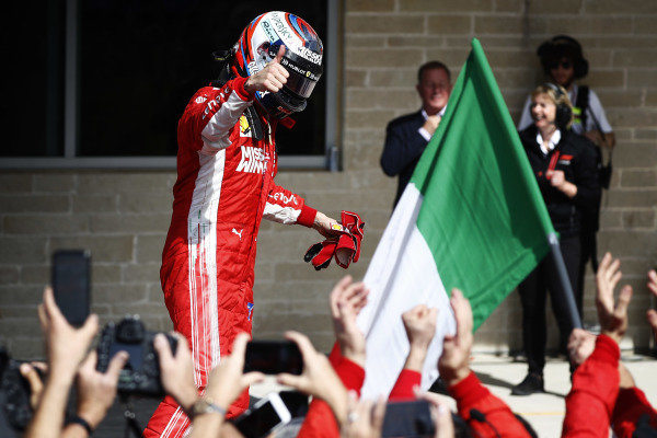Kimi Raikkonen, Ferrari SF71H, celebrates after winning the race.