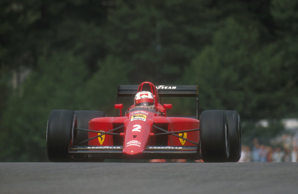 1990 Belgian Grand Prix.Spa-Francorchamps, Belgium.24-26 August 1990.Nigel Mansell (Ferrari 641). He took the spare car for the second and third starts but exited the race suffering with bad oversteer.Ref-90 BEL 01.World Copyright - LAT Photographic