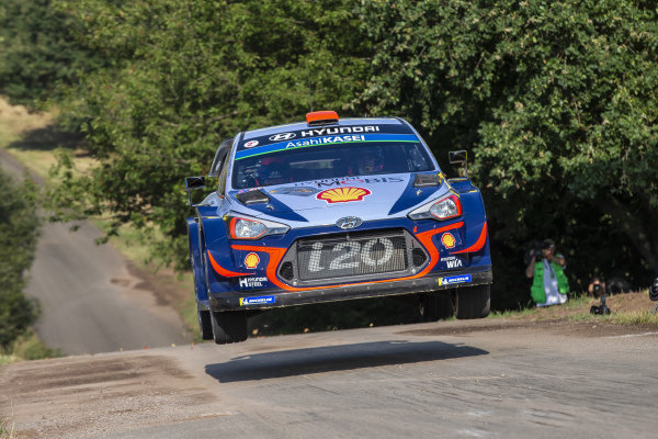 Dani Sordo rises over the famous 'Gina' jump on Rallye Deutschland's Panzerplatte military stages