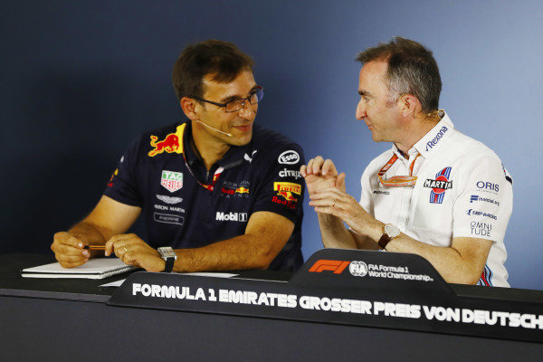 Pierre Wache of Red Bull and Paddy Lowe, Williams Martini Racing Formula 1, in the Friday press conference.