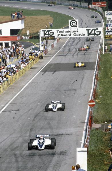 Nelson Piquet, Brabham BT50 BMW, leads Riccardo Patrese, Brabham BT50 BMW.