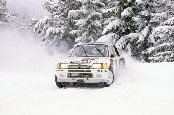 1985 World Rally Championship.Swedish Rally, Sweden. 15-17 February 1985.Ari Vatanen/Terry Harryman (Peugeot 205 Turbo 16), 1st position.World Copyright: LAT PhotographicRef: 35mm transparency 85RALLY02