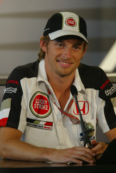 2004 Hungarian Grand Prix - Thursday,Hungaroring, Hungary.12th August 2004.Jenson Button, BAR Honda 006, press conference.World Copyright LAT Photographic.Digital Image only (a high res version is available on request).