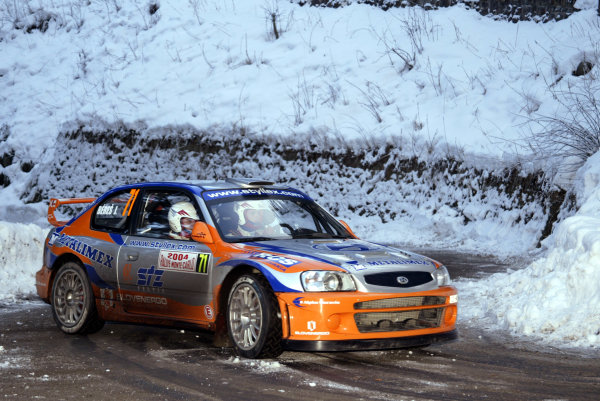 2004 FIA World Rally Champs. Round one, Monte Carlo Rally.22nd-25th January 2004.Josef Beres, Hyundai, action.World Copyright: McKlein/LAT