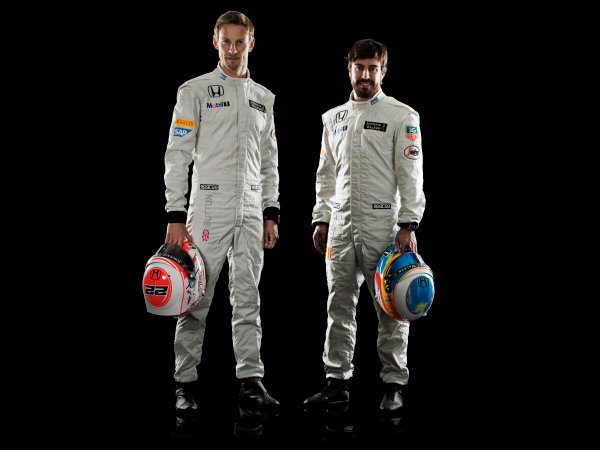 McLaren Honda MP4-30 Reveal Woking, UK. 29 January 2015 Jenson Button and Fernando Alonso. Photo: McLaren (Copyright Free FOR EDITORIAL USE ONLY) ref: Digital Image MH-Drivers-20150127-0510