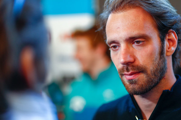 Jean-Eric Vergne (FRA), TECHEETAH, Renault Z.E. 17, talks to the press.