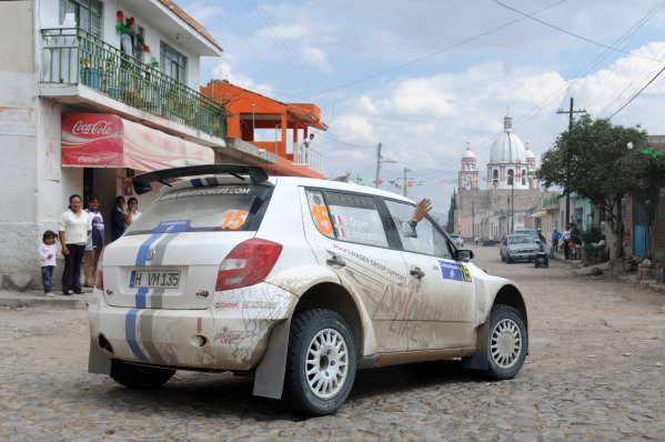 Sebastien Ogier (FRA) and Julien Ingrassia (FRA), Skoda S2000, after stage 22.FIA World Rally Championship, Rd3, Rally Guanajuato Mexico, Leon, Mexico, Day Three, Sunday 11 March 2012.