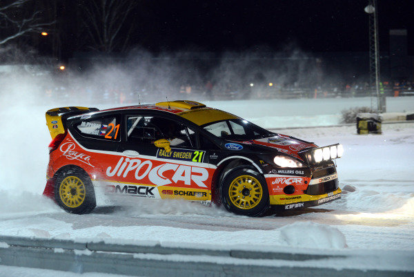 Martin Prokop (CZE) and Michal Ernst (CZE), Ford Fiesta RS WRC on stage 1. FIA World Rally Championship, Rd2, Rally Sweden, Karlstad, Sweden, Stage One, Thursday 7 February 2013.