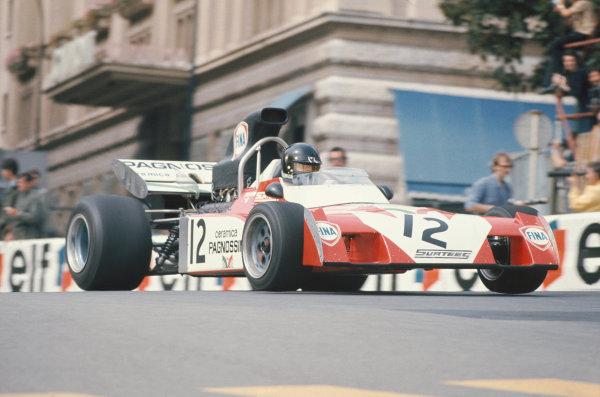 1972 Monaco Grand Prix.  Monte Carlo, Monaco. 11-14th May 1972.  Andrea de Adamich, Surtees TS9B Ford, 7th position.  Ref: 72MON45. World Copyright: LAT Photographic