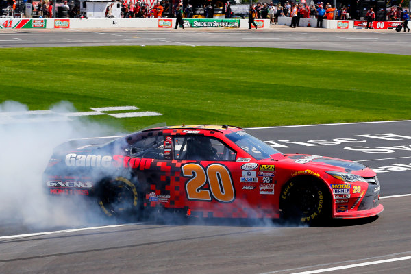2017 NASCAR Xfinity Series My Bariatric Solutions 300 Texas Motor Speedway, Fort Worth, TX USA Saturday 8 April 2017 Erik Jones, Game Stop/ GAEMS Toyota Camry celebrates his win with a burnout  World Copyright: Russell LaBounty/LAT Images ref: Digital Image 17TEX1rl_2554