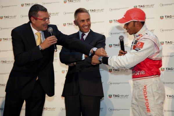 (L to R): Jean-Christophe Babin, CEO and President TAG Heuer, Martin Whitmarsh (GBR) and Lewis Hamilton (GBR) McLaren.TAG Heuer Celebrate 150 Years and 25 Years with McLaren, McLaren Technology Centre, Woking, England, 3 December 2009.