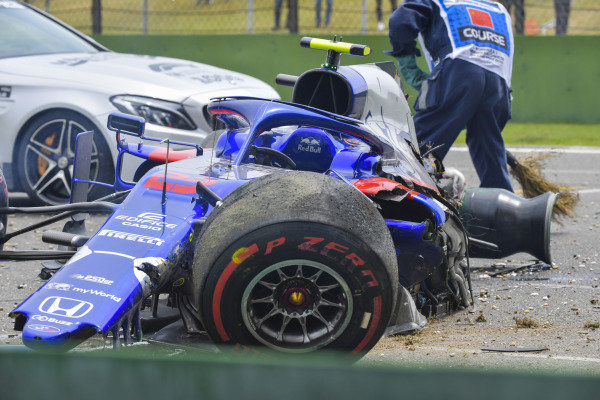 The damaged car of Alexander Albon, Toro Rosso STR14, after his crash towards the end of practice 3
